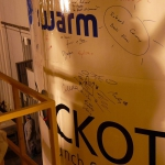 Swarm team signatures and best wishes on the Rockot fairing after encapsulation