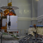 Mating imminent: Satellite and adapter ready to be brought together (credits: Eurockot)