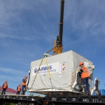 Loading Sentinel-5p onto the rail car (credits: Eurockot Launch Services)
