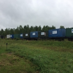 Dedicated spacecraft cargo train stopping at Cosmodrome (credits: Eurockot Launch Services)
