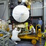 Hoisting of Sentinel-3B onto railcar dolly (Credits: Eurockot)