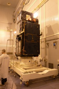 Sentinel-3A on tilting dolly