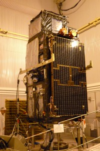 Sentinel-3A spacecraft erected in the MIK clean room