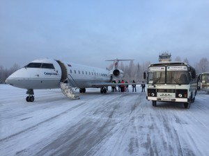 Transferring at Plestsy airport (Plesetsk) from the charter plane to the Cosmodrome shuttles