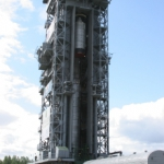 Upper composite being hoisted onto SS-19 booster