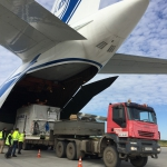 Unloading the Sentinel-5p spacecraft (credits: Eurockot Launch Services)