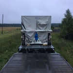 Spacecraft container at its arrival at the Plesetsk town limits (credits: Eurockot Launch Services)