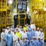 Launch campaign team: last view of Sentinel-3B before encapsulation (Credits: Eurockot)