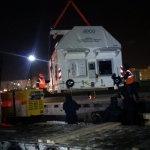 Loading the Sentinel-3B spacecraft onto the rail car (credits: Eurockot Launch Services)