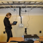 Installing sensors for monitoring temperature and humidity (credits: ESA)